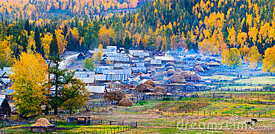 Autumn scenery, Baihaba village, Xinjiang China