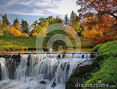 Autumn Scenery Waterfalls Park Landscape