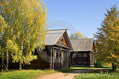Autumn scenery - wooden houses