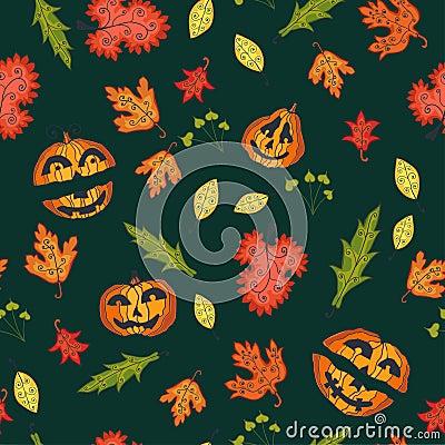 Autumn seamless background, vector illustration.