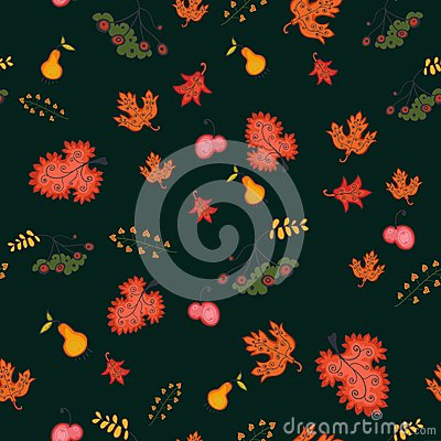 Autumn seamless background, vector illustration.