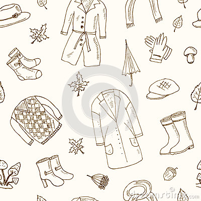 Free Autumn Seamless Pattern Set With Oak Leaves, Shoes, Clothing And Umbrellas. Stock Images - 74560544