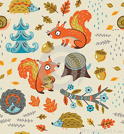 Free Autumn Seamless Pattern With Squirrels, Leaves, Nuts And Crew Cut Stock Photo - 77477900