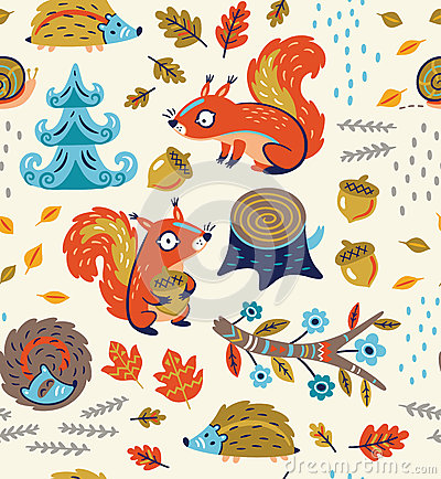 Free Autumn Seamless Pattern With Squirrels, Leaves, Nuts And Crew Cut Stock Photography - 77478182