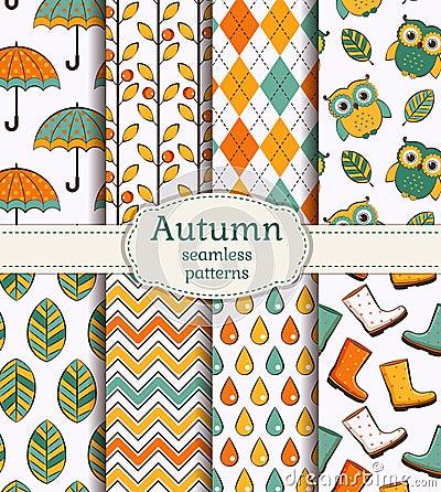 Free Autumn Seamless Patterns. Vector Set. Royalty Free Stock Photos - 43137378