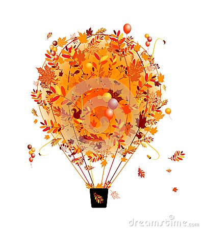 Free Autumn Season Concept, Air Balloon With Leaf For Royalty Free Stock Images - 28771039