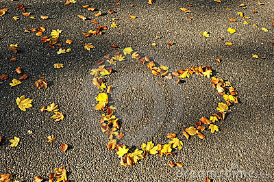 Autumn season. Love heart on the road