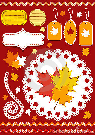 Autumn set for scrapbook with doily.