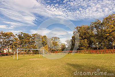 Autumn sports field.