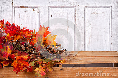 Autumn still life with acorns and  leaves