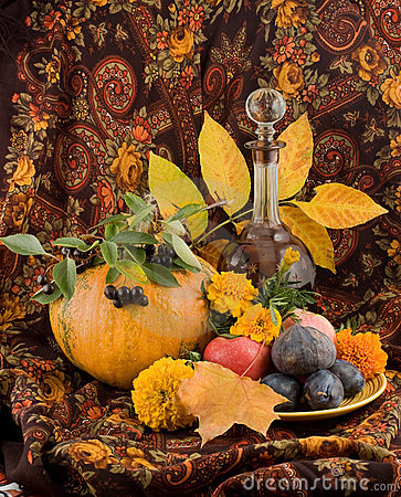 An autumn still life with pumpkin