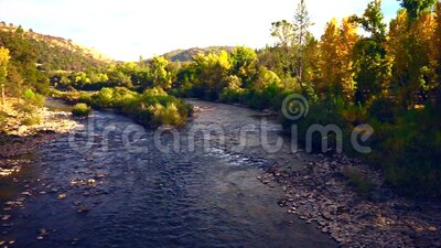 Autumn Sunset in California Gold Country. American River autumn landscape in California Gold Country at sunset stock video