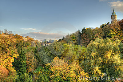 Autumn sunset in Luxembourg
