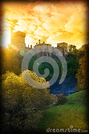 Free Autumn Sunset Over Lismore Castle Stock Photo - 28029240
