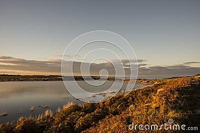 Autumn sunset pond