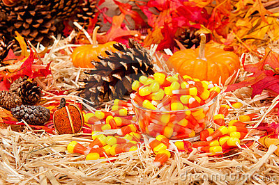 Autumn theme with candy