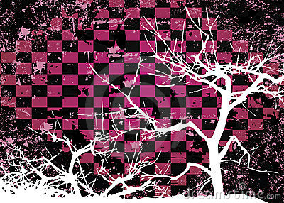 Autumn tree grungy abstract design