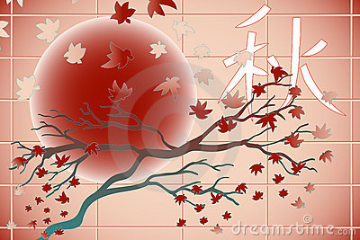 Autumn, tree and leaves - Japanese style