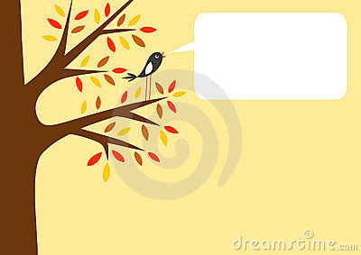 Autumn tree and little bird