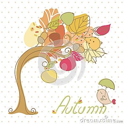 Autumn tree and little bird