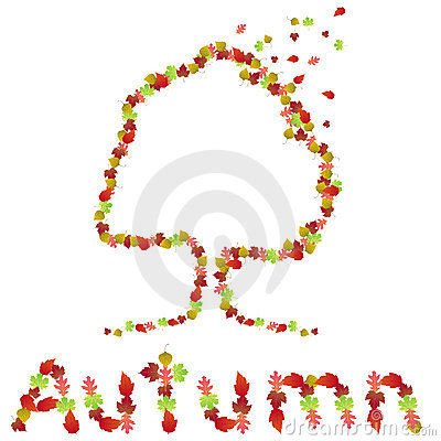Autumn tree and logo made of leaves