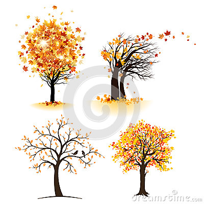 Free Autumn Tree Set Stock Photos - 32185163