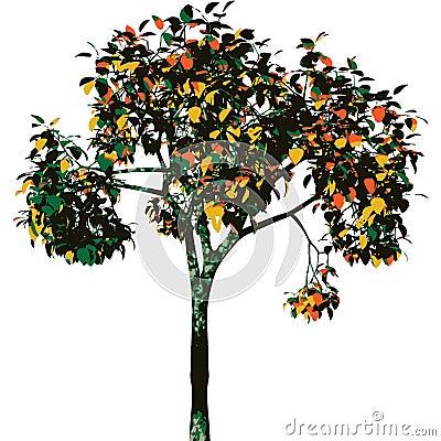 Autumn tree. Vector.