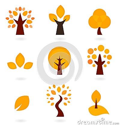 Autumn trees icons
