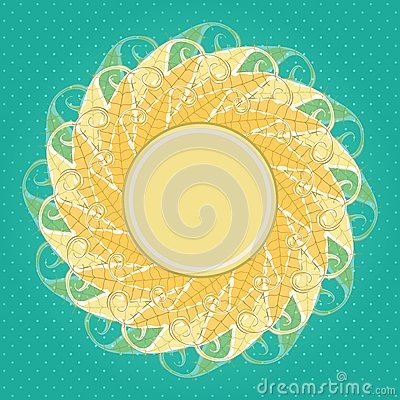 Autumn Vector Background. Round Label with Yellow Leaves