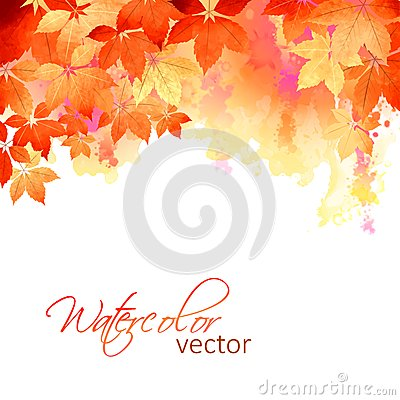 Autumn Vector Watercolor Fall Leaves Vector Illustration
