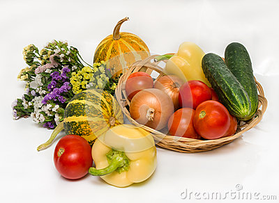 Autumn vegetables with flowers