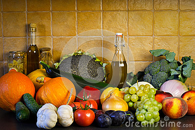 Autumn vegetables and fruits background