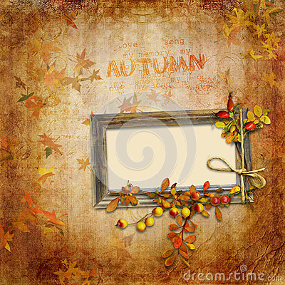 Autumn vintage background with frame