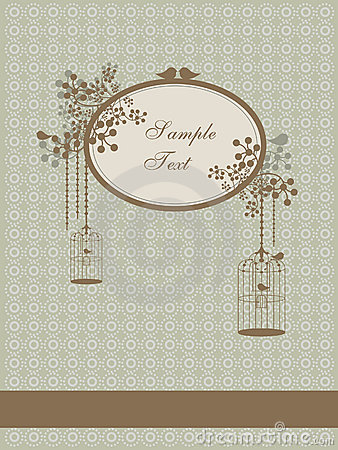 Autumn vintage design with birds and cages