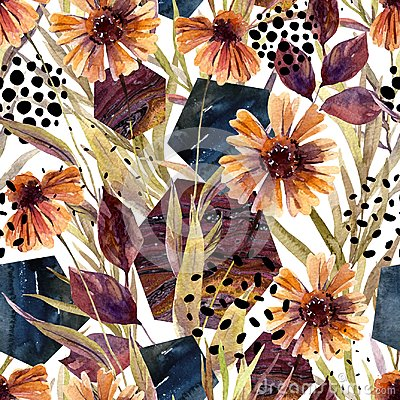 Free Autumn Watercolor Floral Arrangement, Seamless Pattern. Royalty Free Stock Photos - 101375028