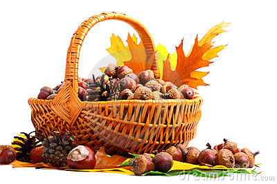 Autumn wicker basket