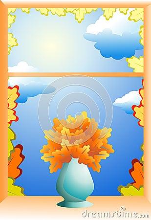 Autumn window illustration