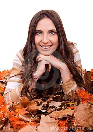 Autumn woman covered with mapple leaves
