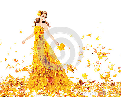 Fashion Autumn Woman, Fall Leaves Dress, Beauty Girl Model Gown