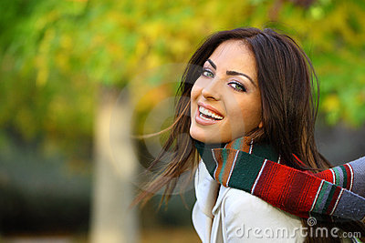 Autumn woman filled with joy