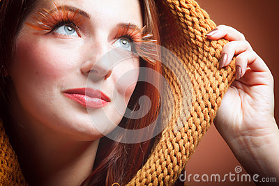 Autumn woman fresh girl eye-lashes joyful smile
