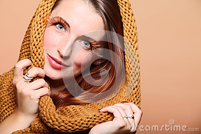 Autumn woman fresh girl glamour brown hair eye-lashes