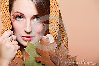 Autumn woman fresh girl glamour brown hair eye-lashes