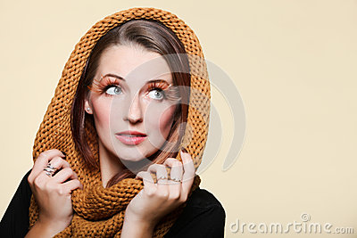 Autumn woman fresh girl glamour brown hair eye-lashes joyful smi