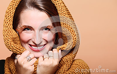 Autumn Woman Fresh Girl Glamour Brown Hair Eye-lashes Joyful Smi Royalty Free Stock Images - Image: 28225649
