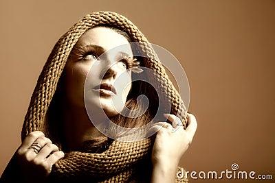 Autumn woman fresh girl glamour eye-lashes