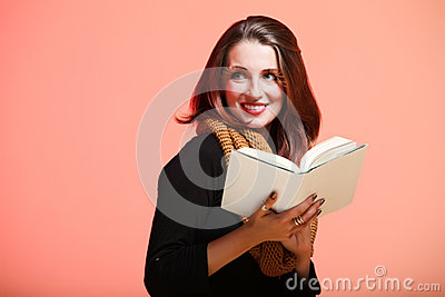 Autumn woman fresh girl read book eye-lashes smile