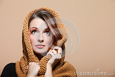 Autumn woman girl brown hair eye-lashes