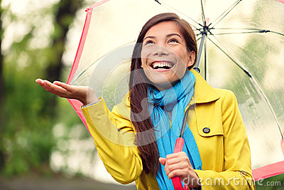 Autumn woman happy after rain walking umbrella
