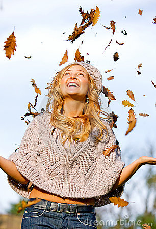 Autumn woman having fun